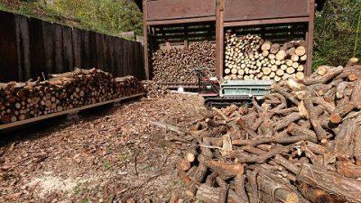 薪の仕分け作業